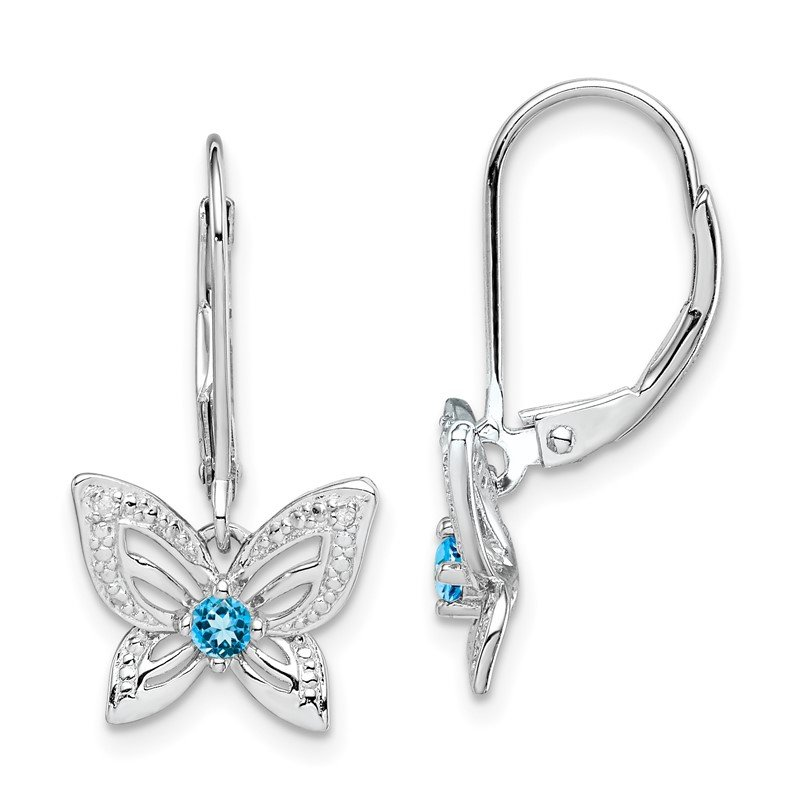 Quality Gold Sterling Silver Rhodium-plated Blue Topaz & Diamond Earrings