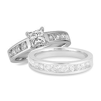 18K WG Diamond Engagement Ring with Princess Center