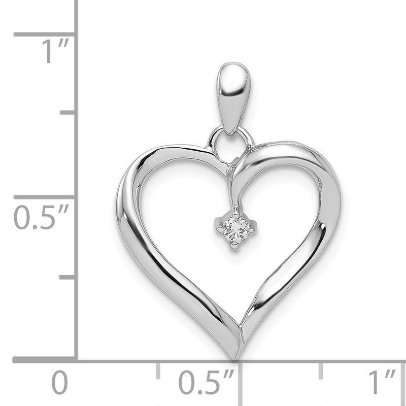 Quality Gold Sterling Silver Rhodium Diam. Heart Pendant
