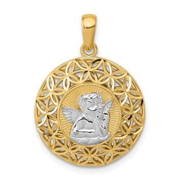 14k w/Rhodium Polished Filigree Guardian Angel Pendant