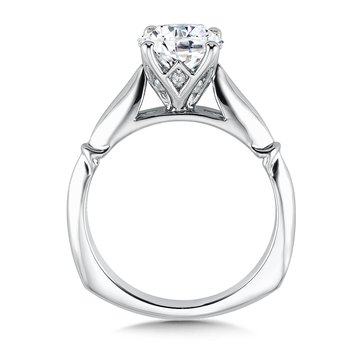 Solitaire mounting .09 tw., 1 1/2 ct. round center.