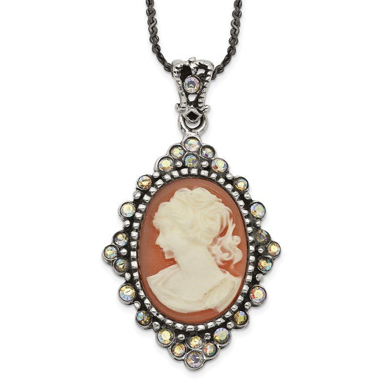 Quality Gold Sterling Silver Antiqued Peach Resin Cameo w/Crystal Necklace