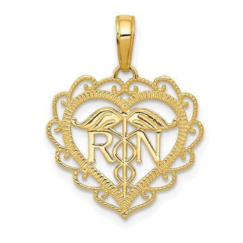 14k RN Registered Nurse Heart Pendant