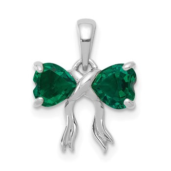 14k White Gold Polished Created Emerald Bow Pendant