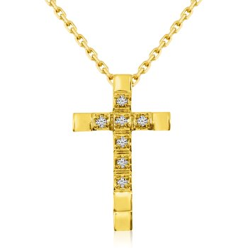 14K Yellow Gold Straight Diamond Cross