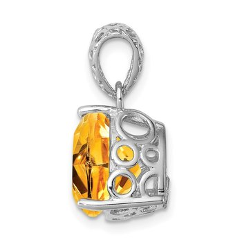 Sterling Silver Rhodium-plated Citrine Pendant