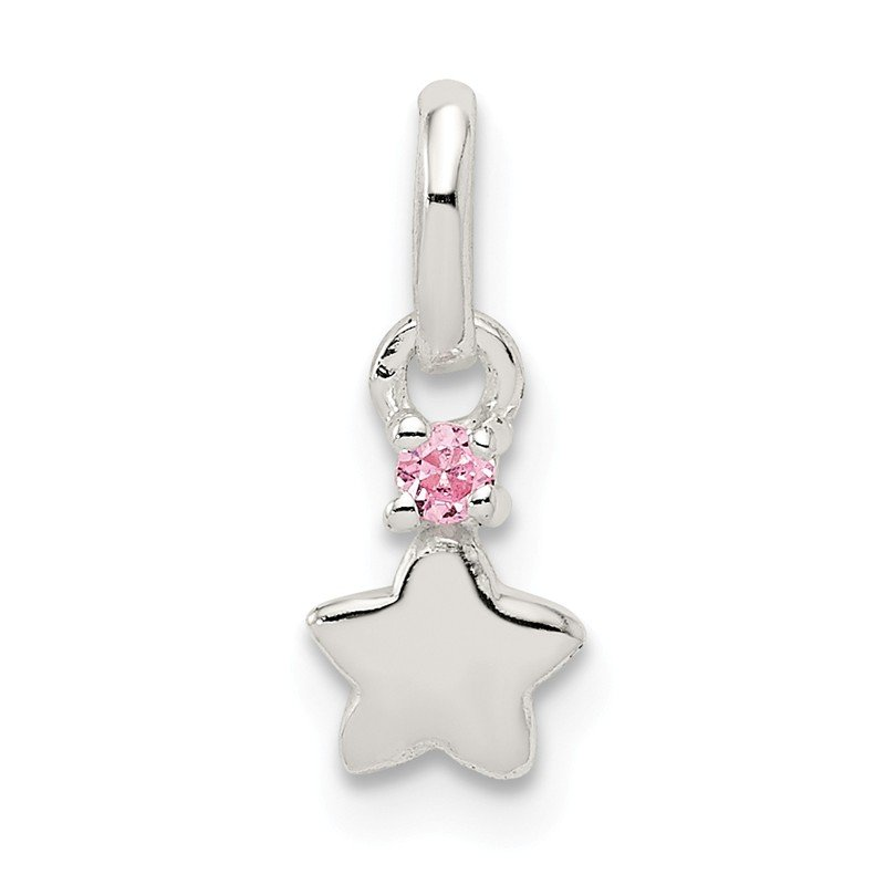Quality Gold Sterling Silver Pink CZ Star Kid's Pendant