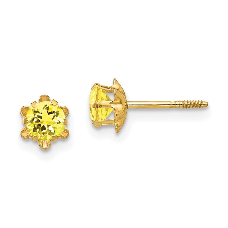 Quality Gold 14k Madi K 4mm Synthetic (Nov) Screwback Earrings
