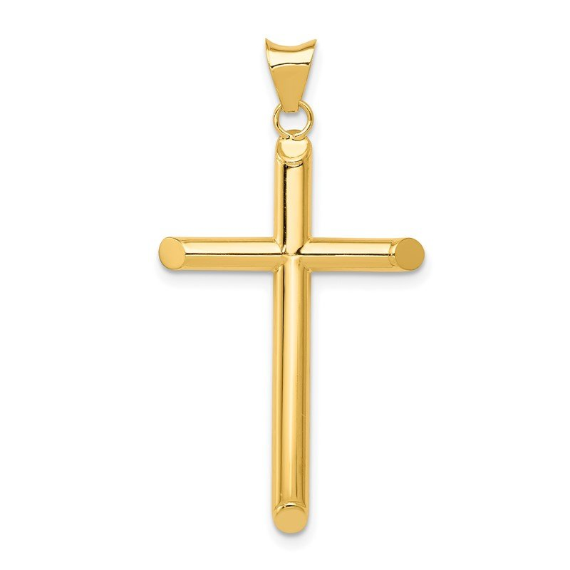 Quality Gold 14k Polished Tube Cross Pendant