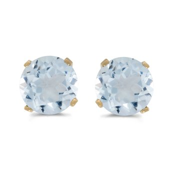 5 mm Natural Round Aquamarine Stud Earrings Set in 14k Yellow Gold