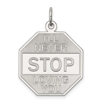 Sterling Silver Rhodium-plated I'll Never stop loving you Charm
