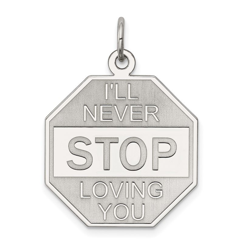 Quality Gold Sterling Silver Rhodium-plated I'll Never stop loving you Charm