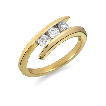 14K YG Diamond 3-Stone 'I Forever Do' By Pass Ring