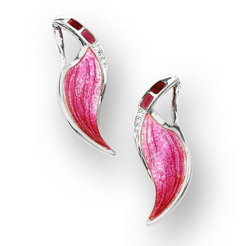 Sterling Silver Contour Stud Earrings-Pink.  Diamonds.