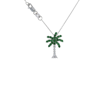 18Kt Gold Palm Tree Pendant With Diamonds And Green Tsazvorite