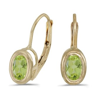 14k Yellow Gold Oval Peridot Bezel Lever-back Earrings