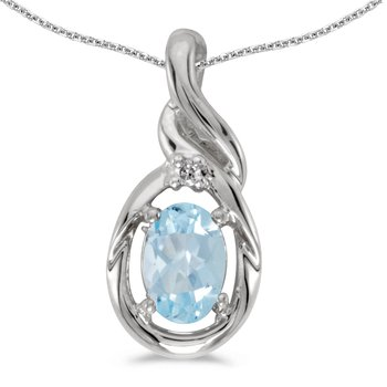 14k White Gold Oval Aquamarine And Diamond Pendant