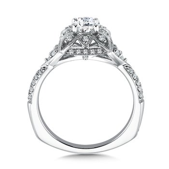 Floral shape halo .32 ct. tw., 1/2 ct. round center