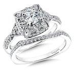 Valina Floral shape halo .32 ct. tw., 1/2 ct. round center