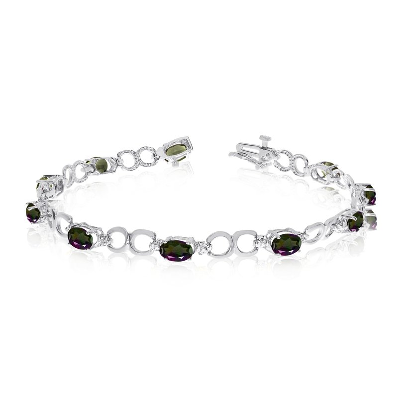 Color Merchants 14K White Gold Oval Mystic Topaz and Diamond Bracelet