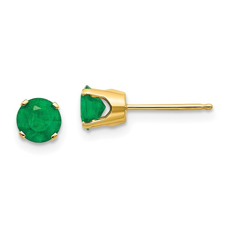 Quality Gold 14k 5mm Emerald Earrings - May