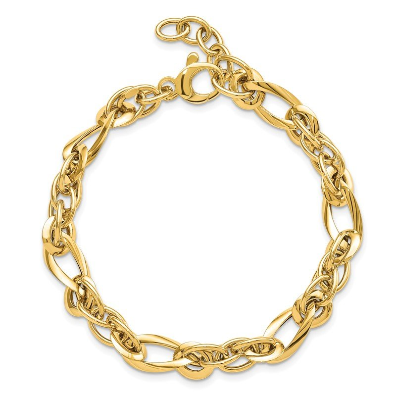 Quality Gold 14k Polished Fancy Link 18in Necklace