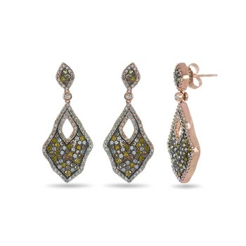 10K RG and multiple color diamond earring in prong setting