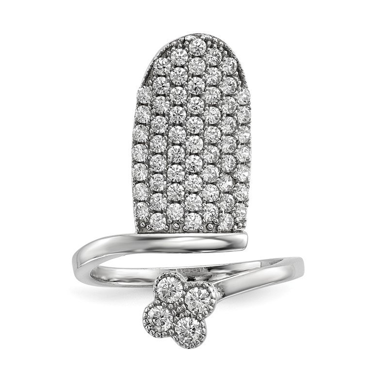 Quality Gold Sterling Silver Rhodium-plated CZ Adjustable Flower Fingernail Ring