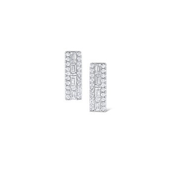 14K Rectangular Mosaic Diamond Stud Earring