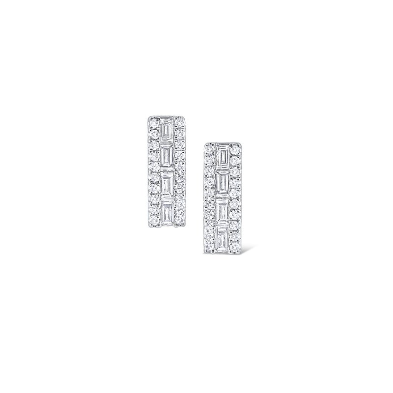 KC Designs 14K Rectangular Mosaic Diamond Stud Earring