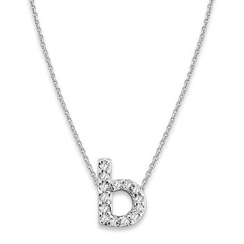 "Diamond Baby Typewriter Initial ""B"" Necklace in 14k White Gold with 14 Diamonds weighing .08ct tw."