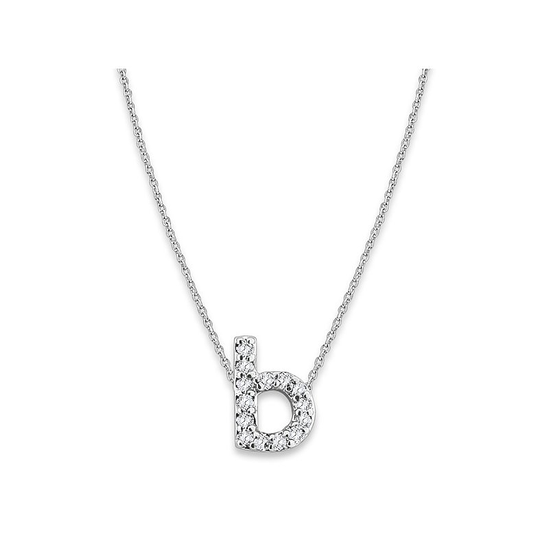 "KC Designs Diamond Baby Typewriter Initial ""B"" Necklace in 14k White Gold with 14 Diamonds weighing .08ct tw."