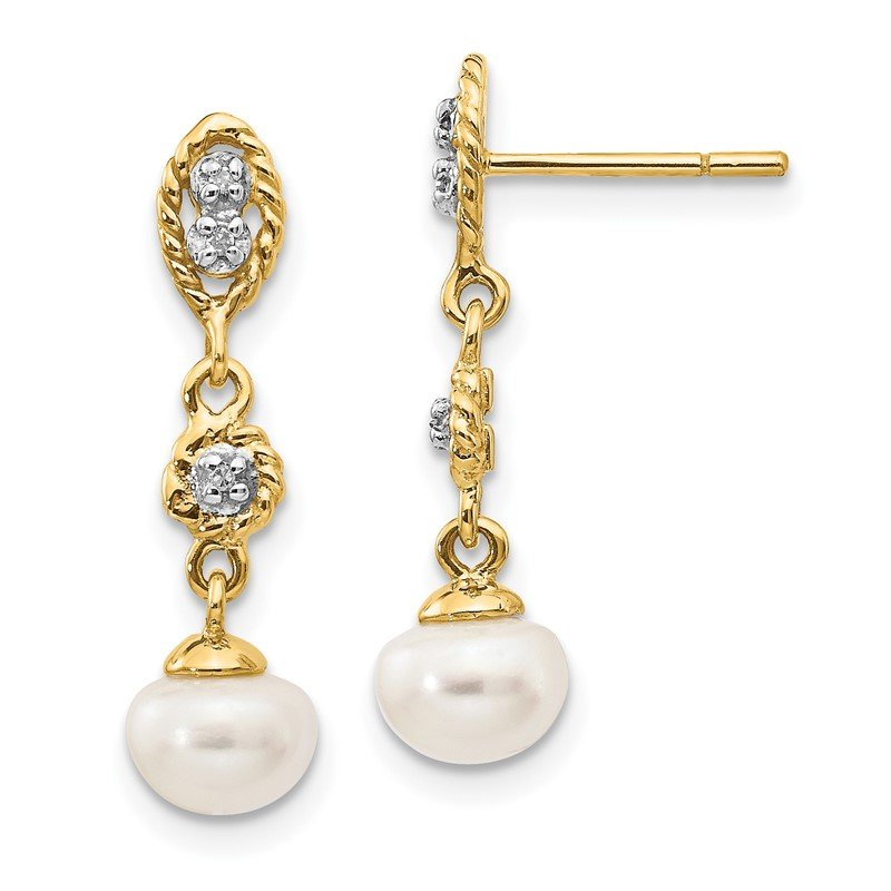 J.F. Kruse Signature Collection 14k w/Rhodium 6-7mm Semi-round FWC Pearl .02ct Diamond Earrings