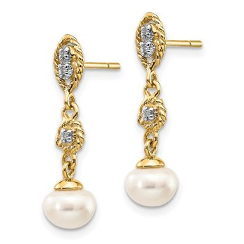 14k w/Rhodium 6-7mm Semi-round FWC Pearl .02ct Diamond Earrings
