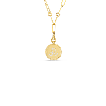18K DIAMOND LEO ZODIAC MEDALLION PENDANT W. COIN EDGE ON PAPER CLIP CHAIN