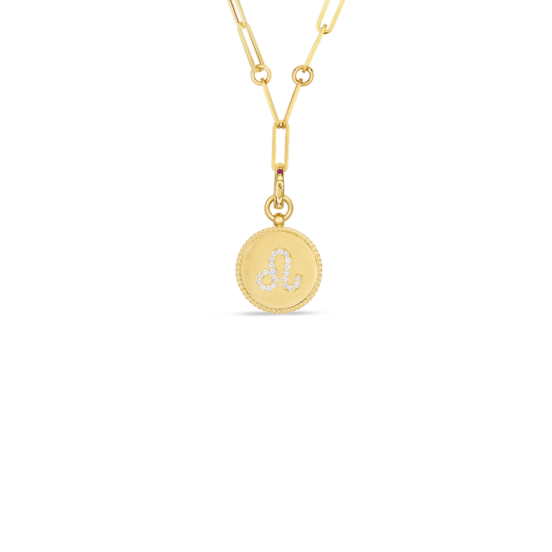 Roberto Coin 18K DIAMOND LEO ZODIAC MEDALLION PENDANT W. COIN EDGE ON PAPER CLIP CHAIN