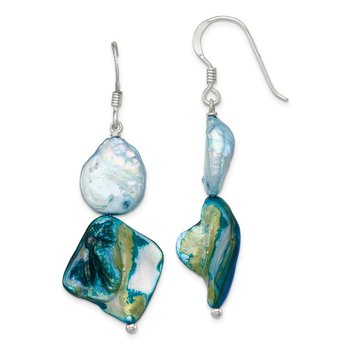 Sterling Silver Blue Mother of Pearl Earrings