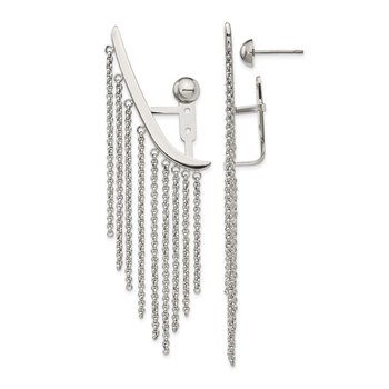 Stainless Steel Polished Dangle Chain Adjustable Post Ear Climbers