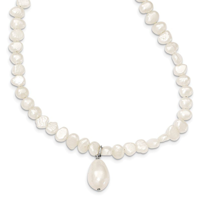 Arizona Diamond Center Collection Sterling Silver FW Cultured Pearl Drop 18in Necklace