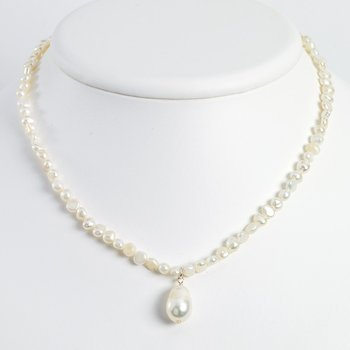 Sterling Silver FW Cultured Pearl Drop 18in Necklace