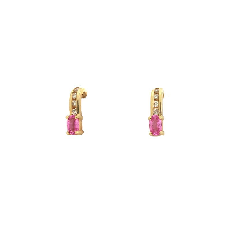 S. Kashi  & Sons Pink Sapphire & Diamond Earring