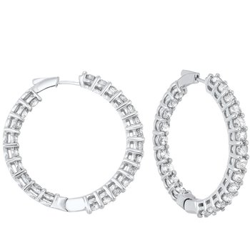 In-Out Prong Set Diamond Hoop Earrings in 14K White Gold (10 ct. tw.) I2/I3 - H/K
