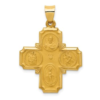 14k Four-Way Medal Hollow Pendant