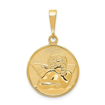 14K Polished and Satin Angel Pendant