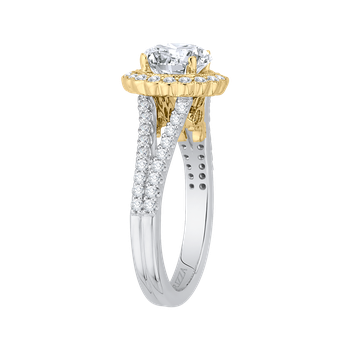 14K Two-Tone Gold Round Diamond Halo Engagement Ring with Split Shank (Semi-Mount)