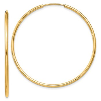 14k 1.5mm Polished Round Endless Hoop Earrings