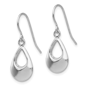 14k White Gold Teardrop Hollow Dangle Earrings