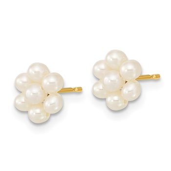 14k 2-3mm White Button Freshwater Cultured Pearl Flower Earrings