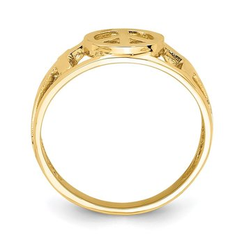 14K Polished Peace and Cross Ring