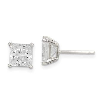 Sterling Silver 6mm Square Cross-cut CZ Basket Set Stud Earrings